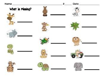 What is missing?  (Safari Animals)-Number Sense