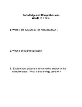 What is mitochondrion? Common Core Activity