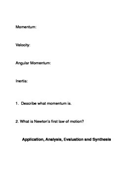What is momentum? Common Core Reading and Writing Activities