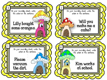 What is the Action in the Sentence? Task Cards.  Parts of Speech. Action Verbs
