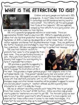 What is the Attraction to ISIS? Reading Comprehension, Terrorism, Syria, Iraq