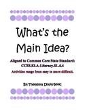 What is the Main Idea? Hands On! Worksheet Activities CCSS