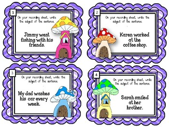 What is the Subject of the Sentence? Task Cards.  ELA Center