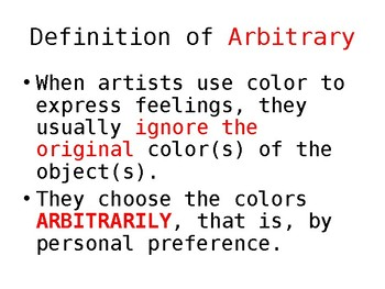 What is the definition of arbitrary? Visual Arts PPT