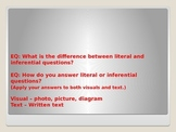 What is the difference between literal and inferential questions?