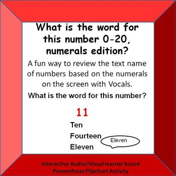 What is the word for this number? 0-20 Numbers on screen with VOCALS Promethean