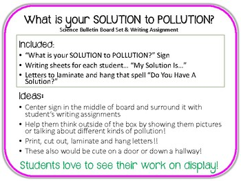 What is your Solution to Pollution?Bulletin Board Set.Science.Writing Assignment