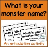 What is your monster name? (A fun, no-prep articulation activity)