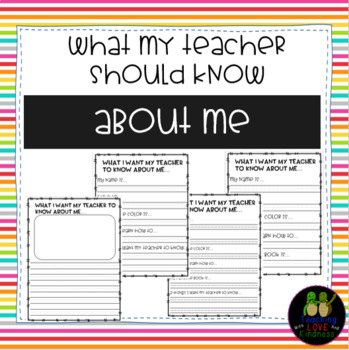 What my Teacher should know