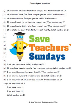 What number am I lesson plans, worksheets and other teaching resources