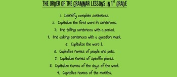 What order should I teach grammar in 1st Grade?
