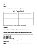 What plants need and observation packet for planting seeds experiment