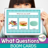 What questions Boom Cards Speech Therapy | No print for Te