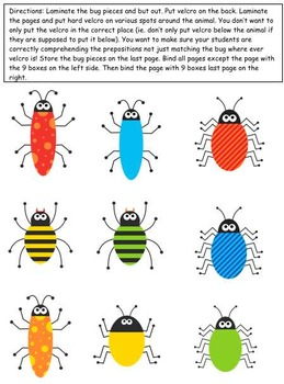 What's Bugging You? Prepositions Adapted Book for Preschool and Kindergarten
