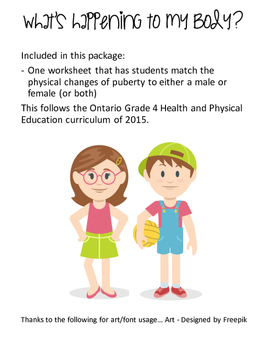 Grade 4 Puberty Worksheet - Health Curriculum