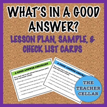 What's In a Good Answer? - Lesson Plan, Sample, Editing Checklist Cards to Print