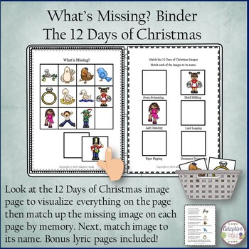 What's Missing? Binder 12 Days of Christmas, Name Match and Lyrics