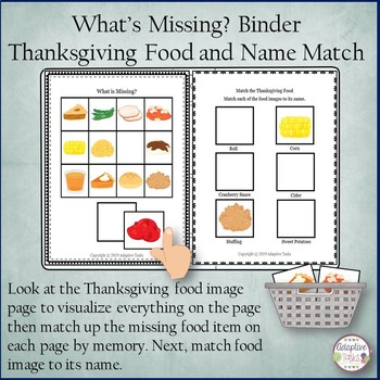What's Missing? Binder Thanksgiving Foods and Name Match