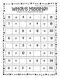 What's Missing?  Missing Addends Practice Worksheets-Adding 3 Numbers--3 levels