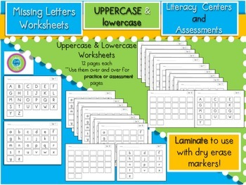 What's Missing!- Missing Letters Worksheets (Upper/Lower case)