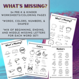 What's Missing? CVC & More Pre-K and Kinder Coloring / Wor