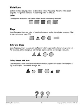 What's Missing? (visual memory/descriptive language)