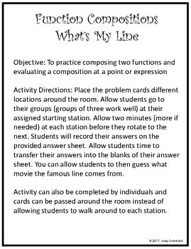 What's My Line: Compositions of Functions