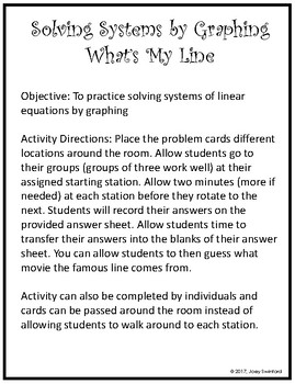What's My Line: Solving Systems by Graphing