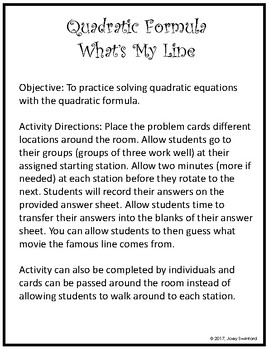 What's My Line: Using the Quadratic Formula (Christmas Edition)