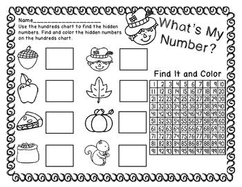 Whatu0027s My Number   Fall Hundreds Chart