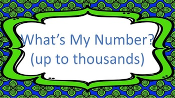 What's My Number? Place Value Task Cards ((up to 1000s))
