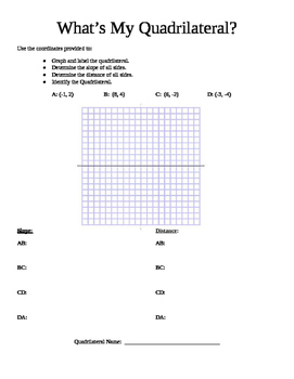 What's My Quadrilateral? Project