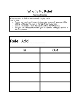 What's My Rule? In/Out Boxes Addition