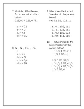 What's My Rule? SOL 5.17 Number Patterns Worksheet