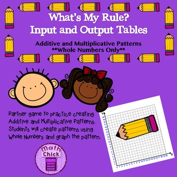 What's My Rule Whole Numbers Additive Multiplicative Patterns TEKS 5.4C and 5.4D