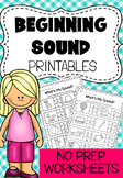 Beginning Sounds Printable Worksheet Pack - Kindergarten Phonics