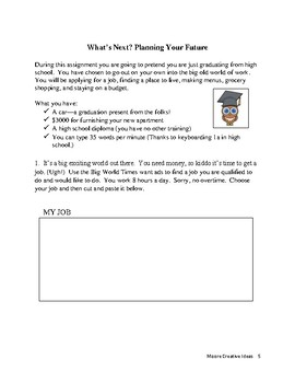 What's Next?  Planning For Your Future--A Problem Solving and Using Decimals