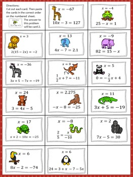 Solving Multi-Step Equations: What's Next Puzzle