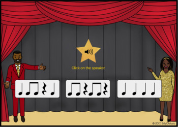 What's That Rhythm? Quarter Note, Rest, 8th Notes - BOOM Cards