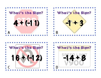 What's The Sign - Integer Addition Activity