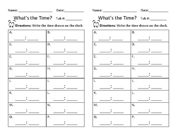 What's The Time? Task Cards
