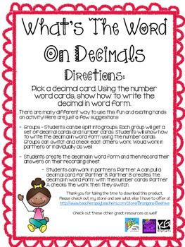 What's The Word On Decimals? - Decimals in Word Form