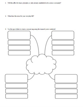 What's Trending in Science? Research Worksheet with Concept Map