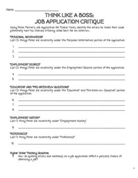Think Like a Boss: Job Application Critique Activity (Print/Google)