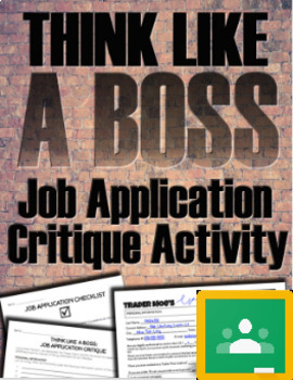 Think Like a Boss: Job Application Critique Activity (Print/Google)