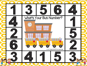 What's Your Bus Number?:  NO PREP Go to School Themed Number Spot and Dot Game
