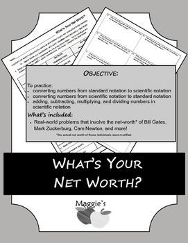 What's Your Net Worth? (Operations in Scientific Notation)