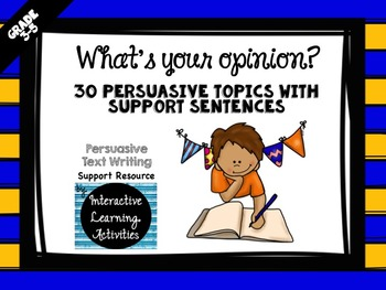 30 Persuasive Writing Prompts with Sentence Starters
