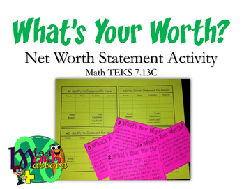 What's Your Worth? Net Worth Statement Activity 7.13C
