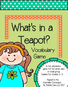 What's in A Teapot? Vocabulary Game - Cooking Themed Words